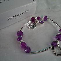 Girl's Stretch Bracelet With Silvertone & Purple Charms Photo