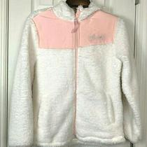 Girl's Weatherproof Jacket Large 14 Ivory Fleece Blush Pink  Full Zip Hooded New Photo