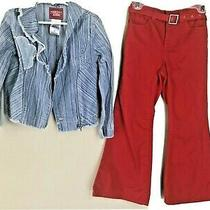 Girl Sz 5 Guess Moto Jean Jacket 2pc & Tommy Hilfiger Red Pants & Belt 2pc Lot  Photo