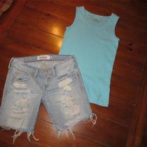 Girls 10 Abercrombie Jean Shorts & Justice Aqua Tank Top Photo