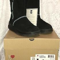 Girls 100% Authentic Ugg Bootsyouth 5black Suede/leather-Blue Shearling-Mid Photo