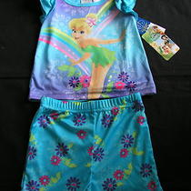 Girls 18 M Disney Fairies Tinkerbell Summer 2 Pc Pajama Pj Set New Blue/purple Photo