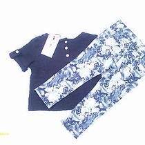 Girls 2t 2 Piece Set  7 for All Mankinddark Blue Floralshort Sleeve Sweater Photo