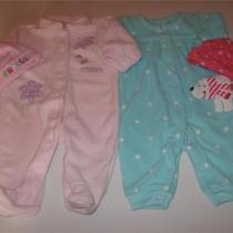 Girls 3 Mos. Carter's Two Warm Fleece Suitspink & Aqua Dot & Caps Photo