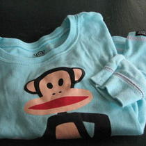 Girls 6x Paul Frank Monkey 2 Pc Pj Pajama Set  L/s Long Sleeved Pink Aqua Snow Photo