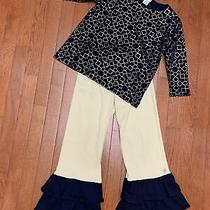 Girls 7 8 Outfit Crewcuts Top Lolly Wolly Doodle  Ruffle Bottoms New Navy Gold Photo