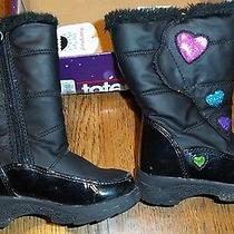 Girls 8m Totes Kids Weatherproof Snow Boots Black W/hearts Tiffany Photo