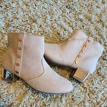 Girls Ankle Booties Shoes Boots Blush Pink Suede Size 5 Photo