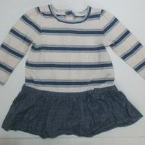 Girls Baby Gap Blue Striped Chambray Bow Skirt Dress Size 6-12 Months Photo