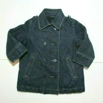 Girls Baby Gap Dark Blue Denim Double Breasted Pocket Jacket Coat Size 2 2t Photo