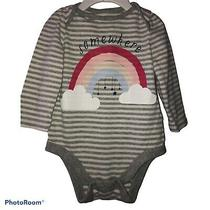 Girls Baby Gap Gray White Striped Long Sleeve Rainbow Bodysuit 6-12 Months Photo