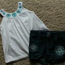 Girls Baby Gap Jean Shorts and White Blue Tank Top Outfit Size 4 Photo