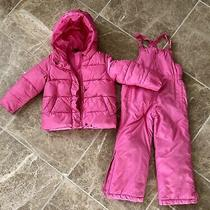 Girls Baby Gap Pink Hooded Snow Ski Jacket and Overall Pants Size 5 Photo