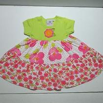 Girls Baby Lulu by Erin Murphy Lime Green & Pink Crochet Floral Dress Size 18 M Photo