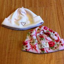 Girls Baby Lulu/janie & Jack Pink Velour Roses Hat Lot Layette Size 3-6 M Photo