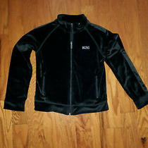 Girls Bcbg Maxazria Rhinestone Black Velour Zip Up Jacket Size 10 Photo