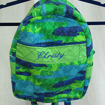 Girls Blue Green Small Cotton Handmade Backpack Monogrammed Christy Photo
