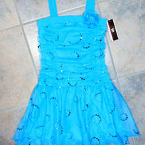 Girls Blue Party Dress Size 7 Dance Sequins Shirred Bodice Iz Amy Byer New Photo
