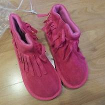 Girls Boot Slippers Pink Size 11 Nwt Avon Short Moccasin Style With Fringe Photo