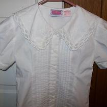 Girls Boutique 7 Labelle Bouquet Fancy White Dress Shirt Blouse Lace Trim Collar Photo