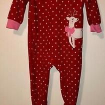 Girls Carters Christmas Reindeer Red Fleece Zip Footie Pajamas Size 18 Months Photo