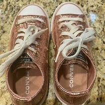 Girls Converse Glitter Rose Color Sneakers - Size 12 Photo
