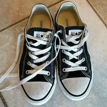 Girls Converse Sneakers Size 3 Black Low Tops Photo