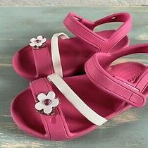 Girls Crocs Pink Flower Sandals Sz 10 Photo