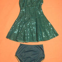 Girls Dance Costume Skating Dress Aqua Silver Large Child Size Solo Tap Jazz Etc Photo