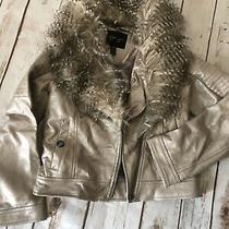 Girls Darling Jessica Simpson Faux Leather Fur Crop Jacket 7-8 Euc Photo