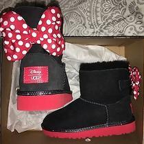 Girls Disney Uggs Minnie Mouse Polka Dot Bows Black Red Size 2 Nib Photo