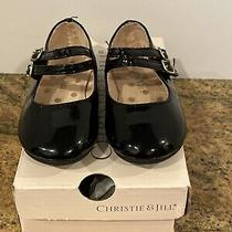 Girls Dress Shoes Christie & Jill Black Patent Mary Janes Size 6m Adjust Strap Photo