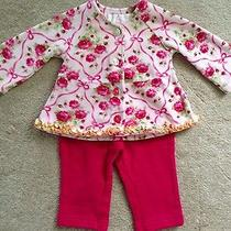 Girls Euc Baby Lulu Velour Roses Top/jacket & Baby Gap Pants Nwot 3-6 Mos Photo