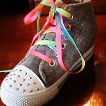 Girls Fun With Studs Kids Hightop Sneakers Gray Tie-Dye Tennis Shoes Size 12 New Photo