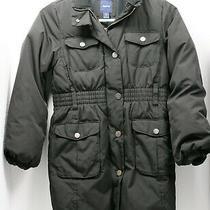 Girls Gap Black Long Down Filled Puffer Coat Jacket Parka Size M 8 Warm Coat Photo