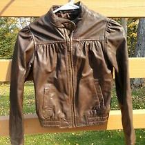 Girls Gap Brown Leather Fashion Jacket/coat Size 8-10 M-L Soft Photo
