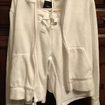 Girls Gap Kids White Terry Cloth Shorts Hoodie Jacket Outfit Clothes Size 8 Photo