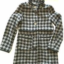 Girls Gap Kids Wool Dress Blend Coat Plaid Black Grey Sz Xl (12) Photo