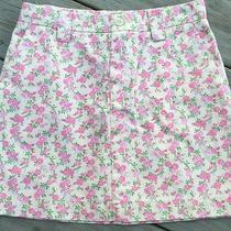 Girls Gap Pink Floral Cotton Skirt Adjustable Waist Sz 8 Photo