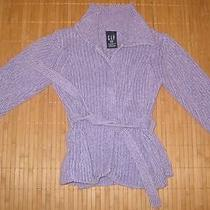 Girls Gap Purple Sweater Jacket Size 3 Heavy Weight Fall Cotton Photo