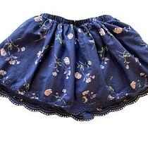 Girls Gap Size Small 6-6x Skirt Clothes Navy Blue Floral Shabby Chic Euc Photo