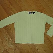 Girls Gap Stretch Butter-Yellow Cotton/lycra Cable Knit Crew Sweater Size Xs(4) Photo