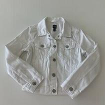 Girls Gap White Denim Jacket Size Medium -Euc Photo