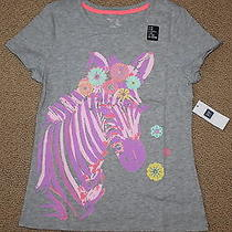 Girls Gap Zebra Pink Gray Short Sleeved T-Shirt Top Size M - Nwt Photo