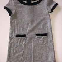 Girls Gapkids Gray Short Sleeve Jersey Shift Dress W/black Trim Sz Xs Ret 45 Photo