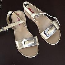 Girls Gold Prada Sandal Shoes Size 30 Photo