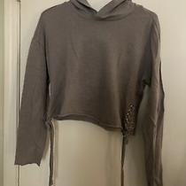 Girls Gray Long Sleeve  Mossimo Top Size Xs Cropped With Ties on Sides and Hood Photo
