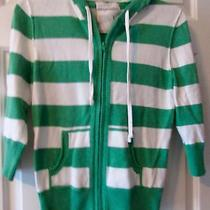 Girls Green & White Stripe Aeropostale Hood Sweater    Size L Photo