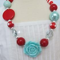 Girls Gumball Necklace-M2m-Matilda Jane-Gymboree-Aqua-Red-Chunky Fun-Photo Prop Photo