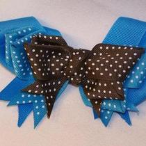 Girls Hairbow Hair Bow Aqua Blue and Brown Polka Dot Photo